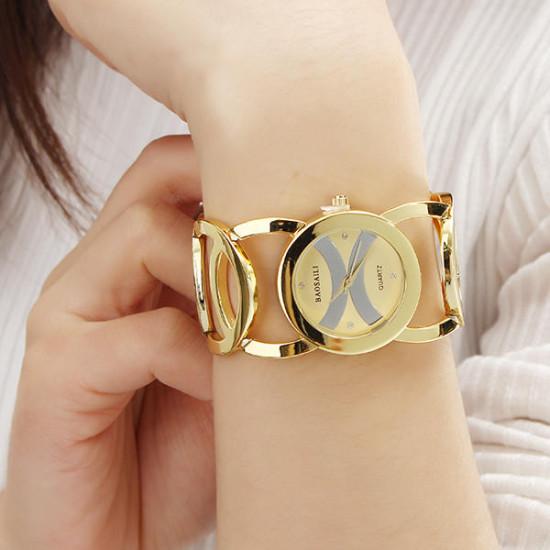 BAOSAILI BSL089 Fashion Luxury Crystal Złoty Kolor Sukienka Zegarek damski Zegarek kwarcowy dla kobiet
