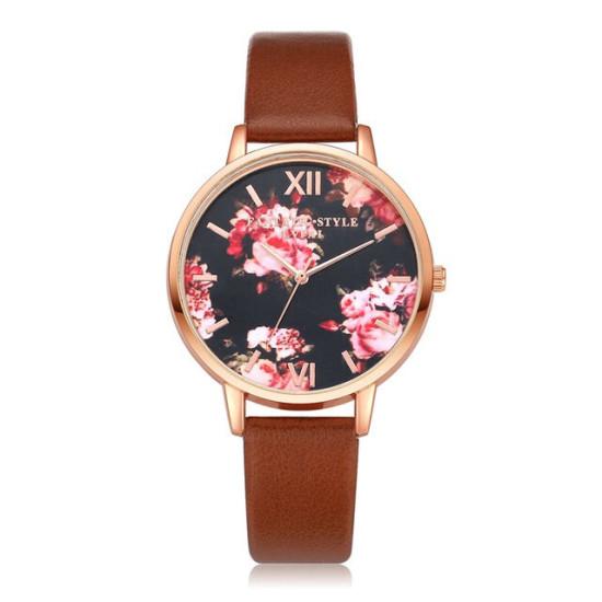 LVPAI P086 Kwiatowy damski elegancki zegarek na rękę Kwarcowy zegarek ze skóry PU