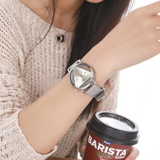 Moda Kreatywny tarczowy pasek ze stali nierdzewnej Prosty damski kwarcowy zegarek
