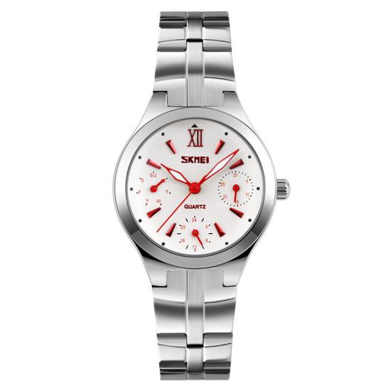 SKMEI 9132 30M Wodoodporny kalendarz Ladies Wrist Watch Stal nierdzewna Band Kwarc Watches
