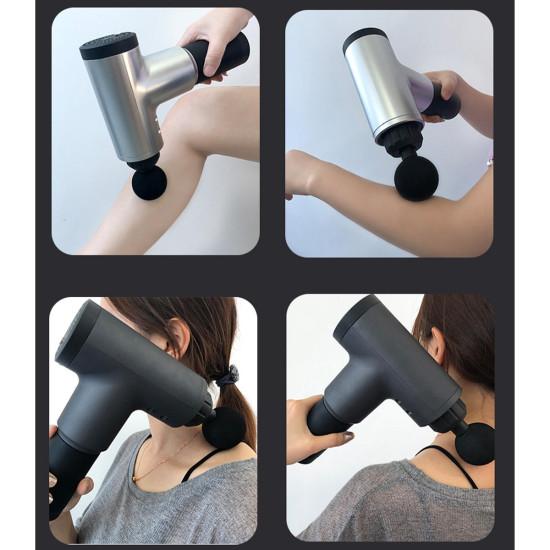 Elektryczny masażer perkusyjny 4 poziomy Mięśni sportowca Głęboka tkanka Wibrujące urządzenie relaksujące z 4 głowicami do masażu