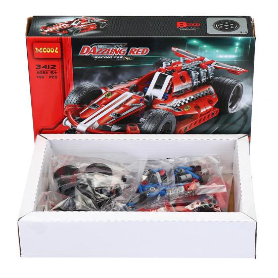 DECOOL 3412 Technic Wyścigi samochodowe 158 SZTUK Klocki Zabawki Zestawy dla dzieci Klocki